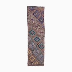 Oriental Hand Knotted Wool Vintage Runner Kilim Carpet