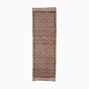 Tapis Kilim Vintage Runner en laine à la main d'Anatolie