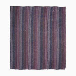 Tapis Kilim Vintage en Laine Noué à la Main Multicolore