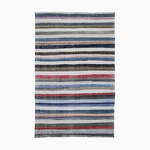 Multicolor Turkish Hand Knotted Wool Vintage Kilim Carpet