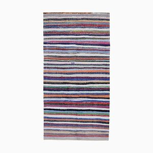 Multicolor Anatolian Hand Knotted Wool Vintage Kilim Carpet