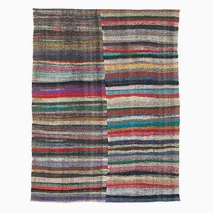 Brown Oriental Hand Knotted Wool Vintage Kilim Carpet
