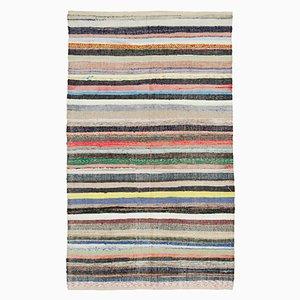 Beigefarbener anatolischer Handgeknüpfter Vintage Kilim Teppich aus Wolle