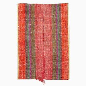 Orange Turkish Hand Knotted Wool Vintage Kilim Carpet