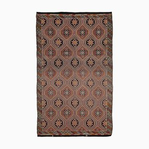 Brown Turkish Handmade Wool Vintage Kilim Carpet