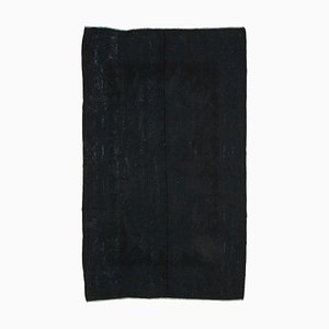 Black Oriental Handmade Wool Vintage Kilim Carpet