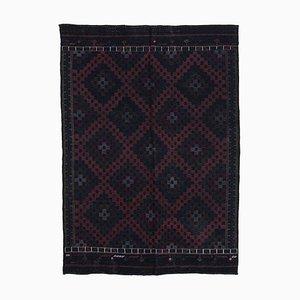 Black Anatolian Hand Knotted Wool Vintage Kilim Carpet