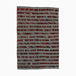 Multicolor Turkish Handmade Wool Vintage Kilim Carpet