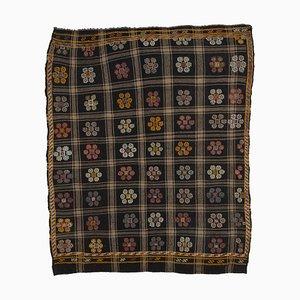 Tapis Kilim Vintage Oriental fait à la main en laine marron