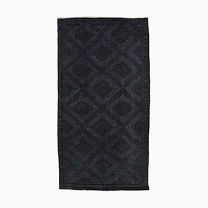 Black Anatolian Handmade Wool Vintage Kilim Carpet