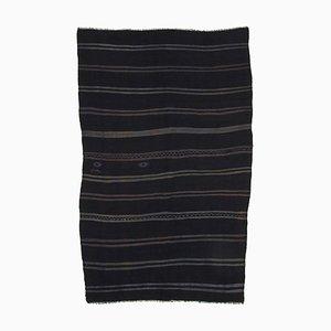 Black Turkish Handmade Wool Vintage Kilim Carpet