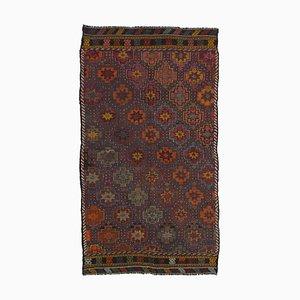 Brown Anatolian Handmade Wool Vintage Kilim Carpet