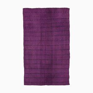 Purple Anatolian Hand Knotted Wool Vintage Kilim Carpet