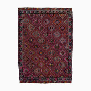 Red Anatolian Hand Knotted Wool Vintage Kilim Carpet