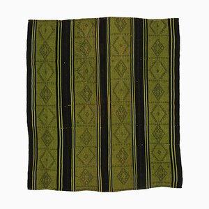Green Anatolian Handmade Wool Vintage Kilim Carpet