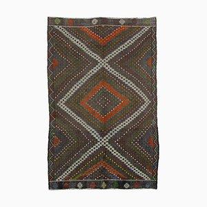 Brown Turkish Hand Knotted Wool Vintage Kilim Carpet