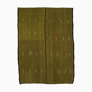 Green Turkish Hand Knotted Wool Vintage Kilim Carpet