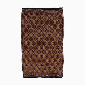 Tapis Kilim Vintage en Laine Noué à la Main Marron Oriental