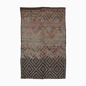 Tapis Kilim Vintage en Laine Noué à la Main Turque Marron