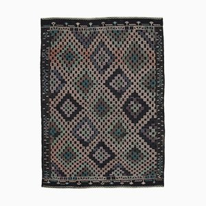 Brown Anatolian Hand Knotted Wool Vintage Kilim Carpet