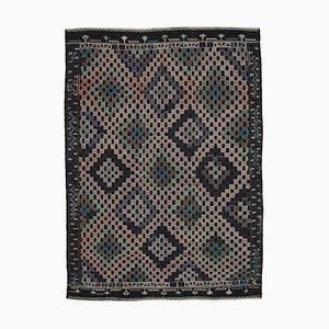 Tapis Kilim Vintage en Laine Anatolien Marron Noué à la Main