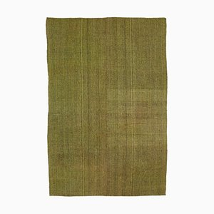 Green Turkish Handmade Wool Vintage Kilim Carpet