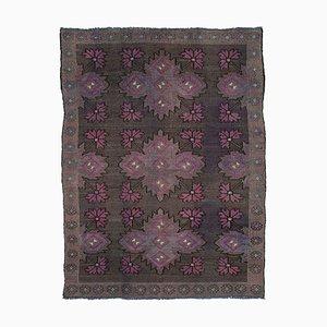 Brown Turkish Handmade Wool Vintage Kilim Carpet