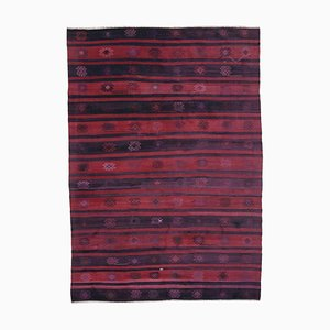 Red Oriental Handmade Wool Vintage Kilim Carpet