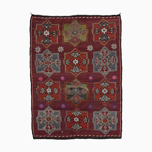 Red Anatolian Handmade Wool Vintage Kilim Carpet