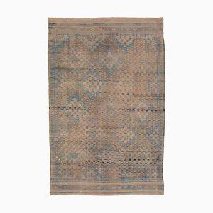 Beige Turkish Handmade Wool Vintage Kilim Carpet