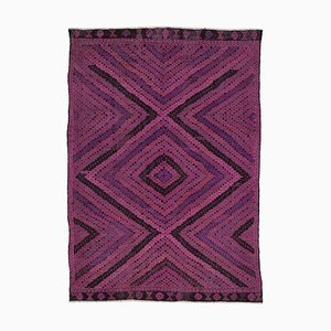 Pink Turkish Handmade Wool Vintage Kilim Carpet