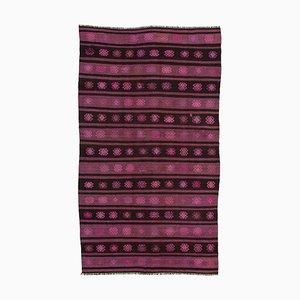 Pink Anatolian Handmade Wool Vintage Kilim Carpet