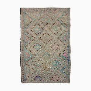 Tapis Kilim Vintage Oriental fait main en laine beige