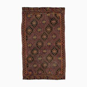 Orange Turkish Handmade Wool Vintage Kilim Carpet