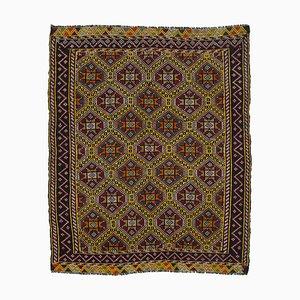 Multicolor Turkish Hand Knotted Wool Vintage Kilim Carpet