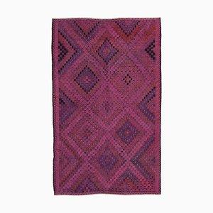 Pink Anatolian Hand Knotted Wool Vintage Kilim Carpet