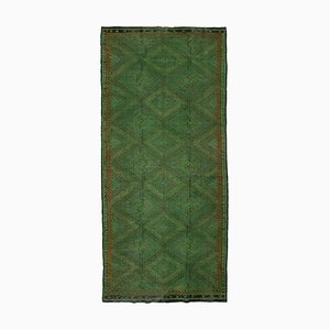 Green Anatolian Hand Knotted Wool Vintage Kilim Carpet