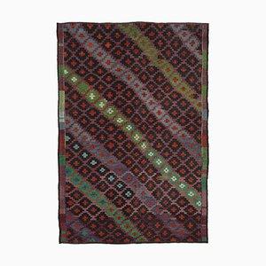 Multicolor Turkish Handmade Wool Vintage Kilim Carpet