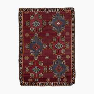 Red Oriental Hand Knotted Wool Vintage Kilim Carpet