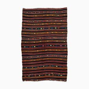 Anatolian Antique Black Tribal Wool Vintage Kilim Carpet