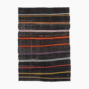 Turkish Brown Handmade Tribal Wool Vintage Kilim Carpet