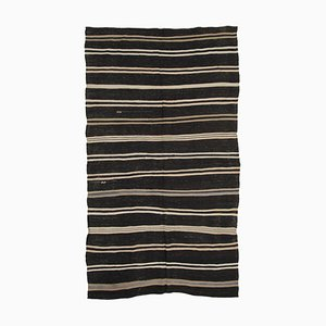 Anatolian Antique Brown Tribal Wool Vintage Kilim Carpet