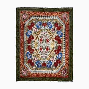 Green Bessarabian Handmade Tribal Vintage Kilim Carpet