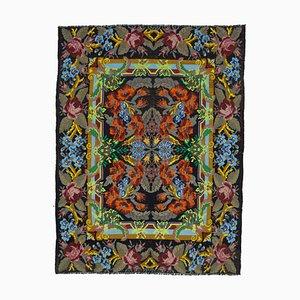 Schwarzer Moldawischer Handgeknüpfter Tribal Vintage Kilim Teppich