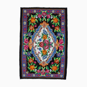 Black Romanian Handwoven Tribal Vintage Kilim Carpet