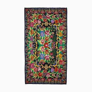 Black Moldovian Handmade Tribal Vintage Kilim Carpet