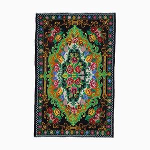 Black Oriental Hand Knotted Wool Vintage Kilim Carpet