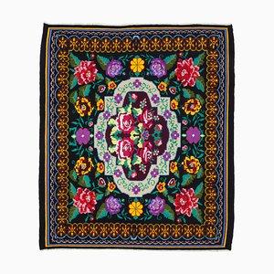 Schwarzer Handgeknüpfter Rumänischer Vintage Vintage Kilim Teppich