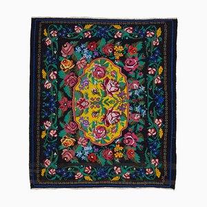 Black Bessarabian Handmade Tribal Vintage Kilim Carpet
