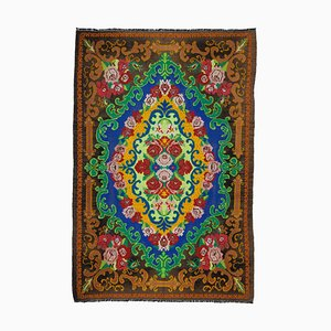 Brown Floral Handmade Tribal Vintage Kilim Carpet